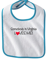 "18475 - ""Somebody in Virginia Loves Me"" Bib, Light Blue - thumbnail"
