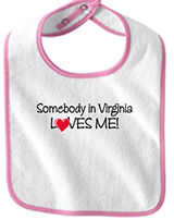 "18476 - ""Somebody in Virginia Loves Me"" Bib, Light Pink - thumbnail"