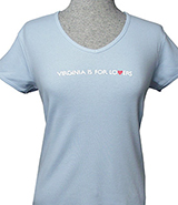 V18061 - Womens V-Neck T-Shirt, Baby Blue - thumbnail